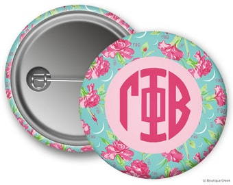 GPB Gamma Phi Beta Carnations Sorority Button