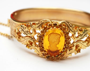 Intagio Cameo - Amber yellow orange glass - Reposse Gold Bangle - Victorian Revival - vintage gold plated Hinged  bracelet - safety chain