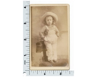 Vintage Cabinet Photo - Little Girl in Overalls and Cowboy Hat Hands in Pockets - Little Cowgirl