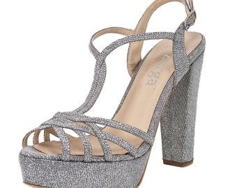 ANKA Silver Diamond Glitter Open Toe Platform Wedding Bridal High Heel Handmade Sandal   Zerga Shoes