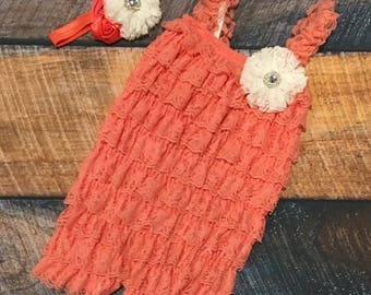 Coral and White Ruffle Romper