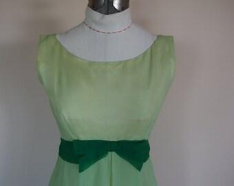 1960s prom wedding dress empire waist chiffon over taffeta formal