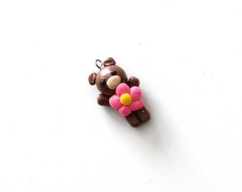 Teddy Flower Clay Charm
