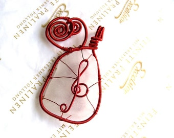 Music pendant, wire wrapped pendant, red copper wire, Birthday gift genuine sea glass pendant, genuine sea stone, beach stone pendant
