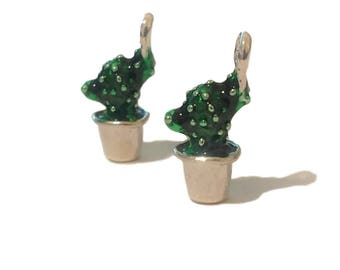 2 Prickly Pear Charms | Cactus Charms | Desert Charm | Cacti | Desert Jewelry | Southwestern | Ready to Ship USA | EN345-2