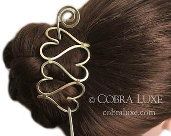 Love Heart Hair Barrette Brass Heart Bun Holder Gold Hair Slide Heart Hair Clip Gold Hair Pin Stick Long Hair Accessory Valentines Gift