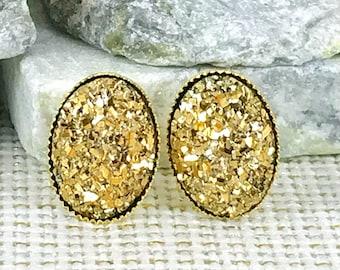 Gold Druzy Earrings - Druzy - Bridesmaid Gift - Gold Jewelry - Stud Earrings - Oval Druzy Earrings - Gold Earrings - Flower Girl Gift - Gold