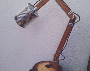 Unique lamp with base and shade of recycling / LED / handmade / industrial style