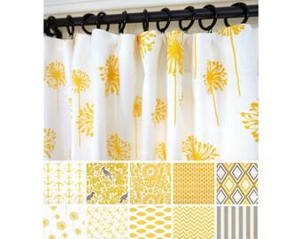 Yellow Window Curtains.Yellow Kelp Curtains. Grey Curtains.Kitchen Curtains.Nautical  Curtains
