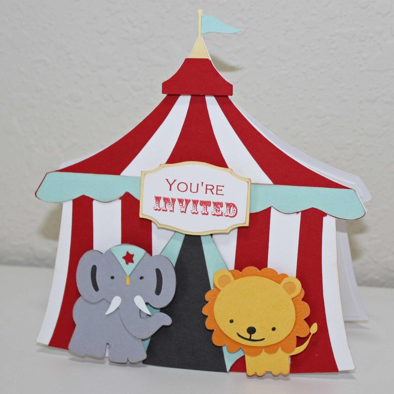 ?zoom & Circus Birthday invitations circus tent elephant lion