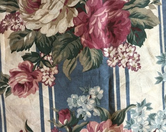 FLORAL Striped Vintage 70's Cabbage ROSE Print FABRIC Gorgeous