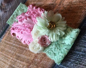 """Mint and Pink Flapper Inspired Headband - 16"""""""
