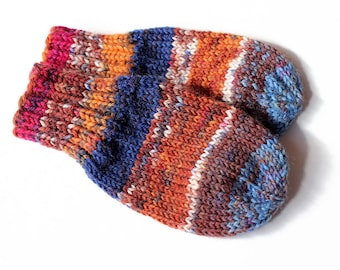 Baby Mittens. Cordless Baby Boy Mitts No Thumbs. Infant Hand Warmers. Orange Blue Wool Winter Mittens Without String. Infant 3 to 6 Months