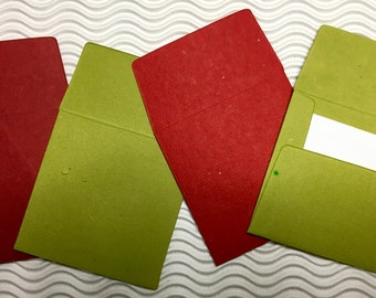 4 teeny tiny envelopes miniature mini note sets square red green Christmas stationery handmade paper party favor wedding guest book table