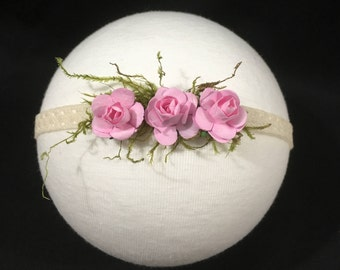 Baby Floral Rose Lace Headband Photo Props Newborn Tieback