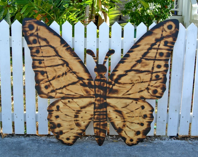 Large Wood Burning Sign, Butterfly Decor, Wooden Butterfly Wall Art, Housewarming Family Gift Idea