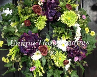 Spring Wreath, Summer Wreath, Hydrangea Wreath