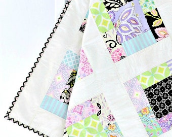 Purple Baby Girl Quilt ~ Patchwork Quilt ~Baby Play Mat~ flowers baby shower gift baby gift handmade patchwork baby blanket pink baby quilt