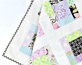 Modern Baby Quilt, crib quilt, homemade, modern crib quilt, child quilt, girl crib bedding, purple, flowers, purple baby quilts, baby quilts