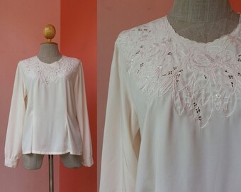 Embroidered Top Casual Blouse 80s Top Vintage Blouse Women 1980s Clothing Womens Tops Button Back Blouse Retro Top Long Sleeve Blouse Large