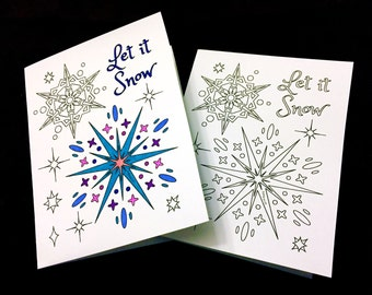 Let it Snow Greeting Card with Snowflakes - PDF Zentangle Coloring Page