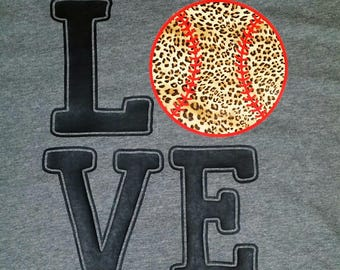 Canvas Brand t-shirt LOVE BASEBALL leopard ball