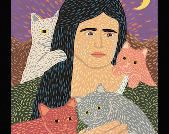 "Our Lady of Eternal Melancholy and Needy Kitties-9""x12"" PRINT"