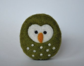 NEEDLE FELTED OWL / Small Needle Felted Green Owl / Made in Maine by Caryn Burwood of Purple Moose Felting