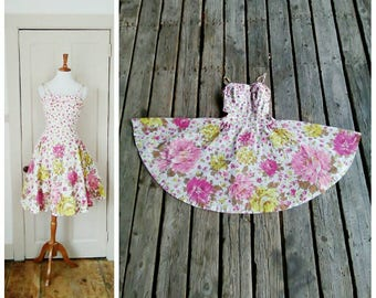 The Bouquet 1950s Alix of Miami White/Purple/Pink/Chartreuse/Brown Floral/Rose Border Print Dress