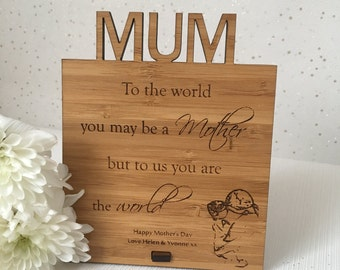 Mother's Day Plaque, Personalised Mother's day gift, Mothers day present, Mum present, Personalised mum gift, mum gift, wooden gift