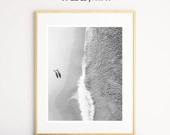 Surf Art, Aerial Beach Photography, Surfer Print, Black White Beach Photography, Surf Decor, Aerial Beach Print, Ocean Wall Art, Surf Print