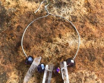 Quartz crystal hoop earrings