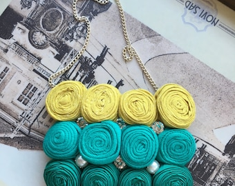 Unique handmade recycled green necklace