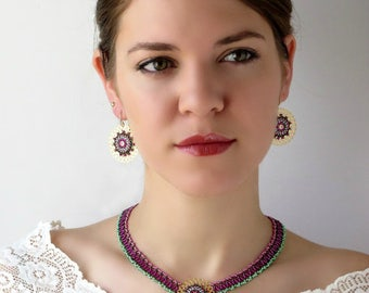 Pink and Green Beaded Mandala Jewelry Sets