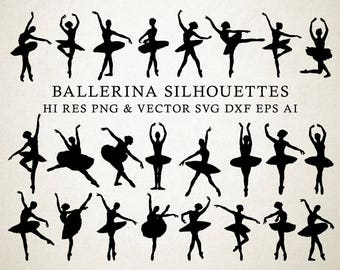 Ballerina SVG, Ballet SVG, Ballerina Silhouette, Ballet Silhouette Vector Cut Files svg dxf eps png Silhouette Cameo Cricut Transfer Cutting