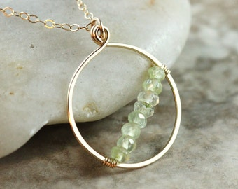 Green Prehnite 14k Gold Filled Necklace Adjustable Loop Hoop Circle Pendant Semiprecious Gemstone Wire Wrapped - Hailey