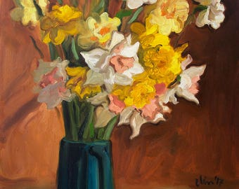 Flower Painting Oil Flower Art Still Life Painting Narcissus Art Original Painting Impressionist Art Original Art Original Artwork