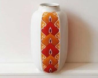 Midcentury pop art vase Jaeger & co NMK Bavaria porcelain white flowers decor modernist design vintage rare rarity