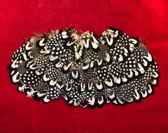1 blk/wht dot HACKLE FEATHER Pad-Headband/Hats/Bridal/Craft/Dress-bird-millinery