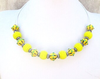 Yellow Bead Choker, Lemon Yellow Necklace, Large Hole Bead Necklace, Rhinestone Bead Necklace, Yellow Choker Necklace, Gift for Her 18in