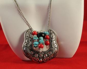 Necklace Belt Buckle/Earrings Turquoise Set