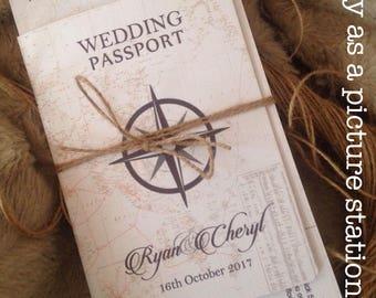 20xpassport wedding invitation, vintage travel invite, destination, rustic wedding, beach wedding
