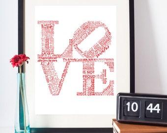 Valentine Print Love Never Fails RED Art Print Valentines Day Gift Valentines Day Art Love is Patient Love is Kind 1 Corinthians 13