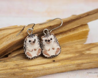 Hedgehog Earrings MADE TO ORDER Hedgehogs Miniature Jewelry Animal Totem