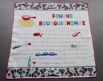 Fondue Bourguignonne - Vintage Dessin Depose Recipe Novelty Cotton Hankie Handkerchief