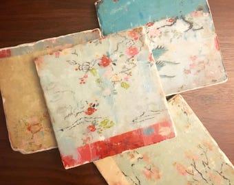 Silk Kimono stone coasters,  set of 4