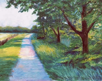 Country Pathway - Oil Pastel Painting