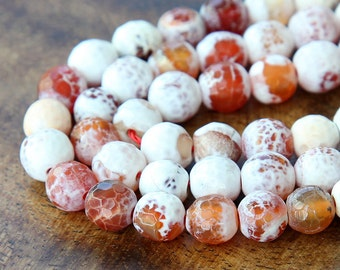 Faceted Fire Agate Beads, Caramel and White, 8mm Round - 14 inch strand - eGR-AG031-8