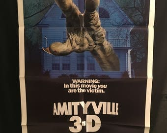 Original 1983 Amityville 3D One Sheet Movie Poster Horror, Monster, House, 3-D,