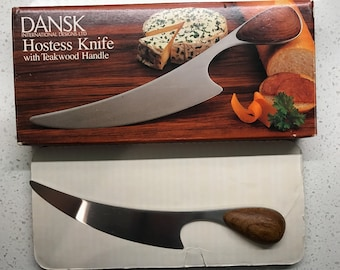 Vintage Dansk Hostess Knife Cheese Board Teak Handle WITH BOX!